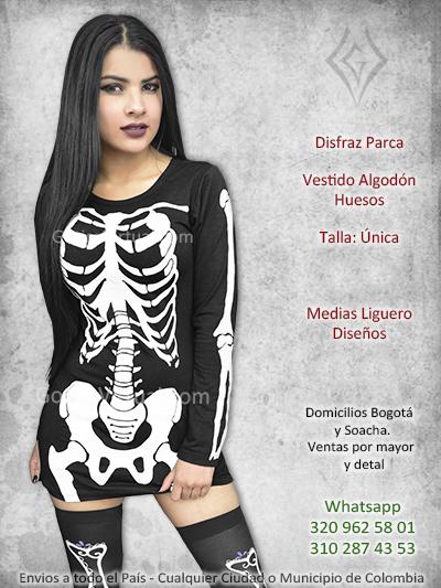 disfraz chica parca vestido huesos estampado negro bomito sexy venta bogota huila caldas funza santander colombia