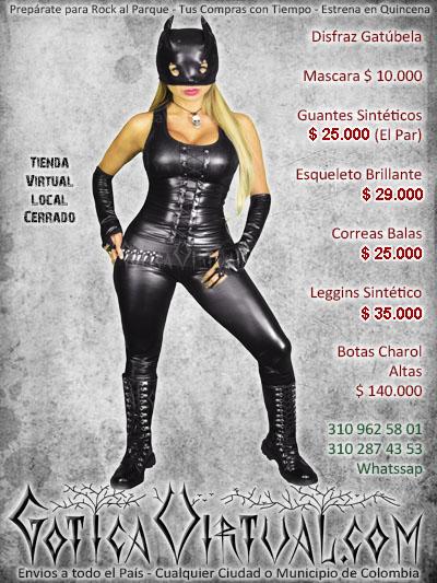 disfraz gatubela sintetico halloween negro boutique ropa metalera rockera ventas online envios a todo el pais cali popayan barranquilla sucre tolima neiva cordoba
