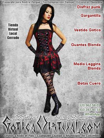 disfraz vestido vinotinto gargantilla botas guantes bogota ventas online envios a todo el pais medellin cali popayan neiva barranquilla leticia barranquilla colombia