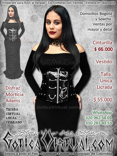 disfraz morticia adams sexy vestido cinturilla bogota ventas online envios a todo el pais medellin cali popayan neiva barranquilla leticia barranquilla colombia