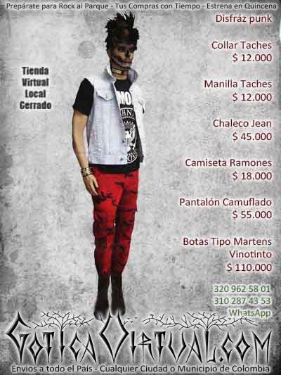 disfraz punk camuflado camiseta chaleco bodega ventas online envios a todo el pais cali medellin manizales rioacha neiva barranquilla popayan huila pereira