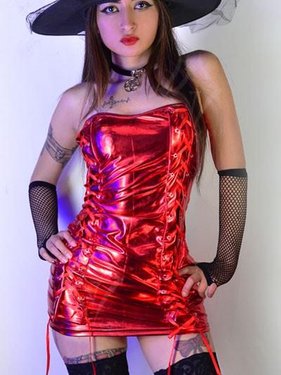 vestido sintetico brillante disfraz bruja colores cordones laterales halloween domicilios envios bogota fontibon engativa suba usme tunal ciudad bolivar