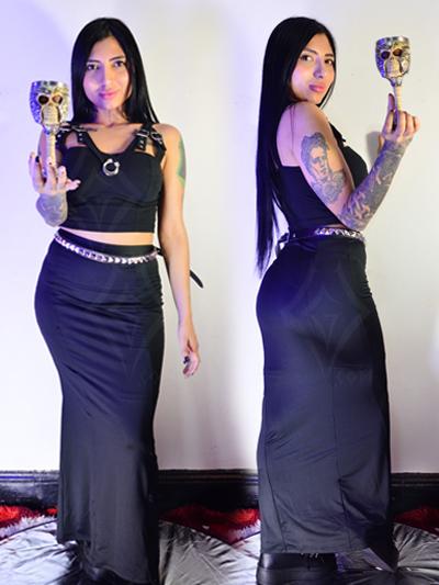 linda falda larga puntaroma lisa ajustada al cuerpo strech comoda licrada color negro elegante envios nacionales domicilios bogota soacha