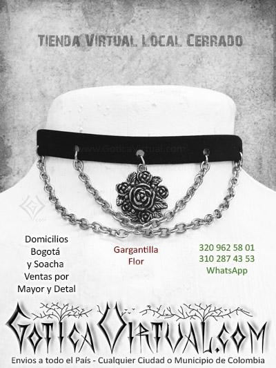 gargantilla flor cadenas gotica virtual tienda online metal rock bogota cali funza zipaquira tunja cucuta villavicencio colombia