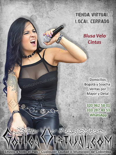 blusa copas negra ropa rockera metalera femenina gargantilla correa aros domicilios bogota soacha envios colombia