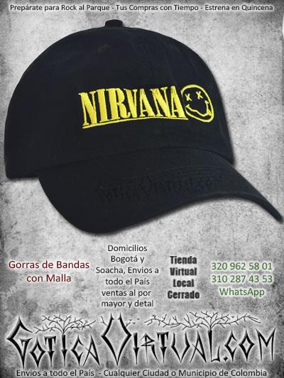 gorra nirvana bandas economica malla negra venta online envios bogota cali valle meta villavicencio cauca pereira colombia