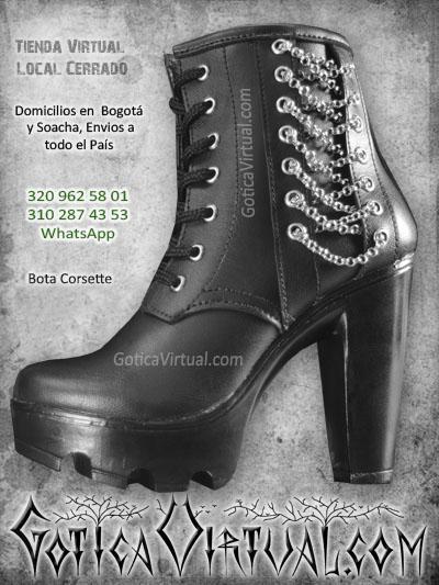 botas tacon cadenas tipo corset corssette cuero plataforma altas chica rockeras metaleras economicas sexys bonitas bogota venta online envios colombia