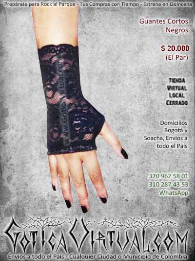 guantes negros blonda cortos femeninos sexy economicos disfraz chica gotica rockera metalera bogota cali armenia pasto tunja chia manizales colombia