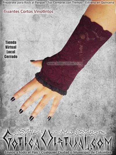 guantes cortos vinotinto blonda velo goticos rockeros metalero ventas online envios cali medellin cauca sucre tolima sincelejo monteria florecia