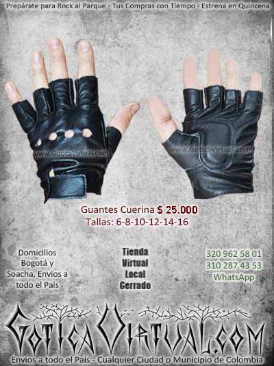 guantes cuerina cueron negros cortos din dedos economicos ventas online baratos cali medellin pasto leticia florencia