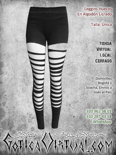 leggins huecos algodon negro metalero rockero dama femenino bogota ventas online envios todo el pais medellin cucuta narino neiva manizales colombia