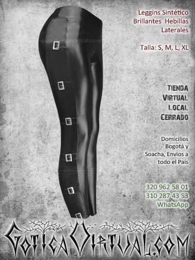 leggins sintetico brillante hebillas laterales negro cuerina bogota mujer femenino economico barato ventas online envios todo el pais medellin cucuta manizales neiva narino colombia
