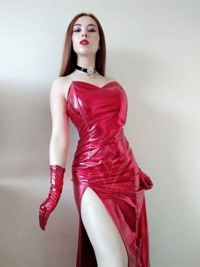 lindo vestido largo jessica rabbit rojo lame sintetico brillante guantes cortos strech licrado envios nacionales domicilios bogota soacha