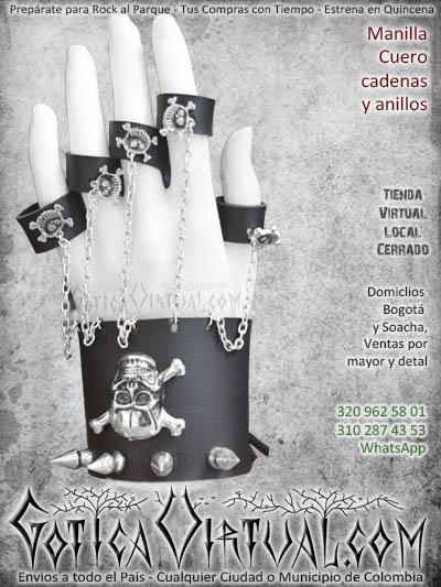 manillas cuerina cuero accesorios comercio domicilios negra oscura rockera metalera gotica ventas tolima manizales cartagena