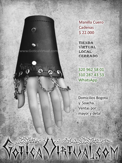 manillas cuerina cuero cadenas accesorios comercio domicilios negra oscura rockera metalera gotica ventas tolima manizales cartagena