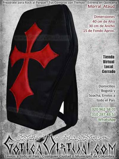 morral ataud negro con rojo economico barato accesorios ventas online envios a todo el pais cali medellin cucuta yopal sucre villavicencio manizales cauca colombia