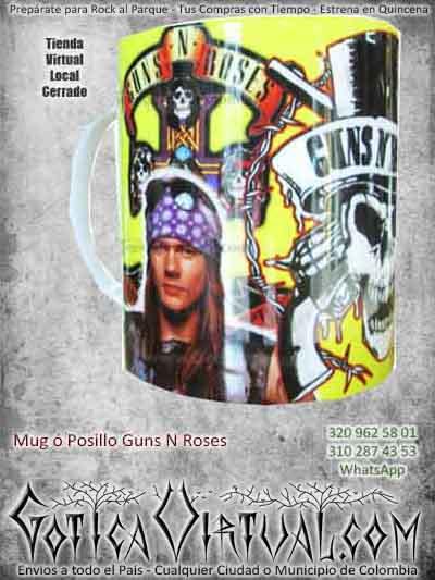 posillos mug gunsnroses bandas rock metal bodega bogota ventas online envios a todo el pais medellin cauca arauca vaupez neiva putumayo villavicencio colombia