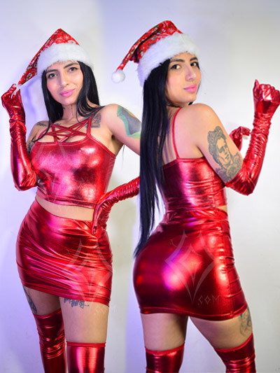 linda falda roja brillante top pentagrama medias guantes sinteticos strech licrados comodos envios nacionales domicilios bogota soacha