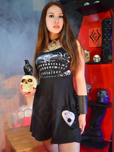 vestido chica negro estampado ouija juego venta online domicilios envios soacha chapinero usme bosa suba americas usaquen olarte castilla colombia