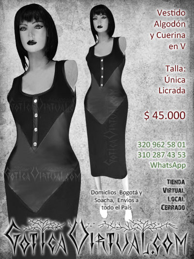 vestido enterizo largo bogota negro algodon cuerina estresh hasta el tobillo elegante barato economico rock dark punk formal alternativo