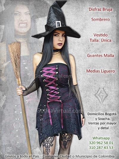 disfraz bruja vestido morado bonita venta online sexy economico excelente calidad bogota tunja caldas bolivar pereira colombia