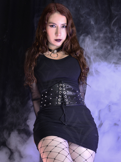vestido algodon cuerina cinturilla taches sexy economico venta online rock metal chica bogota medellin sincelejo cali valle bucaramanga colombia