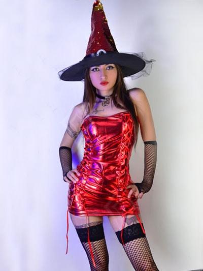 disfraz bruja vestido rojo sensual halloween pasion sombrero envios colombia casanare meta cundinamarca valle cauca